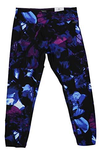 Calvin Klein Mid Rise Shirred Hem Ankle Length Performance Leggings (Indigo Multi, X-Large) ()