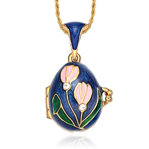 TF Charms Lily of The Valley Flower Locket Egg Pendant Necklace 18