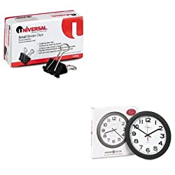 KITMIL625320UNV10200 - Value Kit - Howard Miller Norcross Auto Daylight-Savings Wall Clock (MIL625320) and Universal Small Binder Clips (UNV10200)