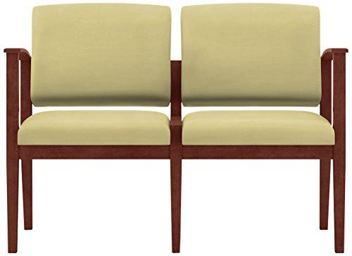 Lesro Amherst Wood 2 Seat Sofa in Mahogany Finish, Castillo Honeydew