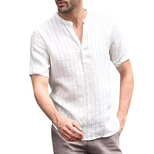 Men's Original Fashion Shirt, MmNote V-Neck Stripe Design Casual Cool Quick Button Athletic Classic Short Sleeve White ()