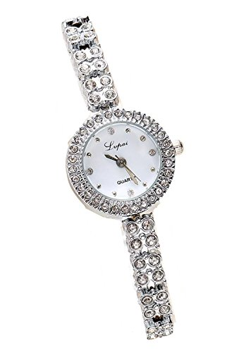 Lupai Silver Dress Bracelet Watch w/ Crystals on Band and Around Face ( 4 dot design) -