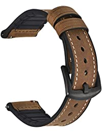 Leather Silicone Hybrid Watch Band Quick Release Watch Strap 22mm Genuine Leather Silicone Rubber Replacement Watchband Nostalgic Brown Black Buckle for Men and Women