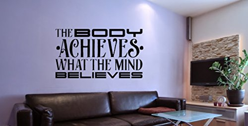 36'' x 20'' Body achieves Live Love Life Health Fitness Wall Decal Quote GymFitness motivational words HOME Motivational Wall Decal Stickel Art Decorations for Home Workout Bodybuilding Gym Club by WallArtStickerUS