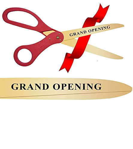 30 Inch Long Gold Color & Engraved - Grand Opening Ribbon Cutting Stainless Steel Scissors (Red)