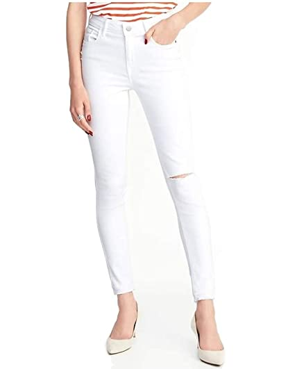 fcd33c9171e Old Navy Spring Mid-Rise Distressed Rockstar White Jeans for Women ...