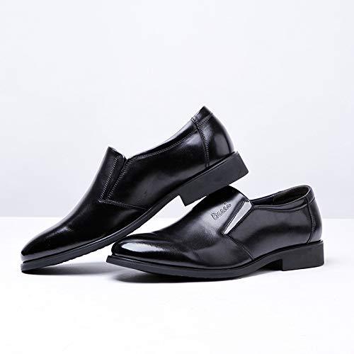 MXNET Brown EU 38 para Estilo la Cuero Zapatos Black Cuero Vestir de de Zapatos de Hombres los de Moda deslizantes Oxford Color del Ocasionales Size FBcgrp4F