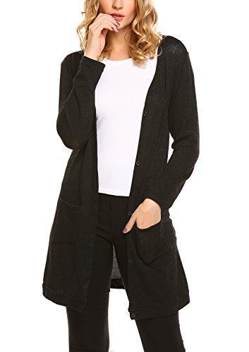 Beyove Women's Open Front Rib Knit Soft Classic Long Cardigan, Black, Medium