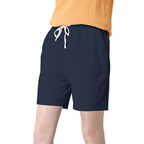 Di Marina Unita Pantaloni Per Oversize Jitong Con Corti Donna Spiaggia Pantaloncini Traspirante Coulisse Tinta Lino UxwwE6v