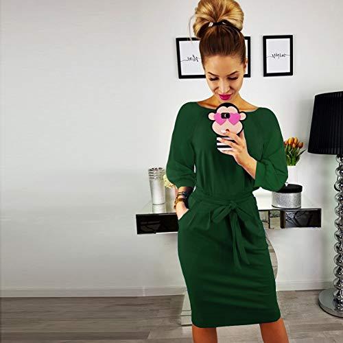 de la Correa del Mujeres la Trabajar Verde1 Desgaste Elegante con Las Corta el de ALAIX Vestido Manga Ocasional lápiz paEqT