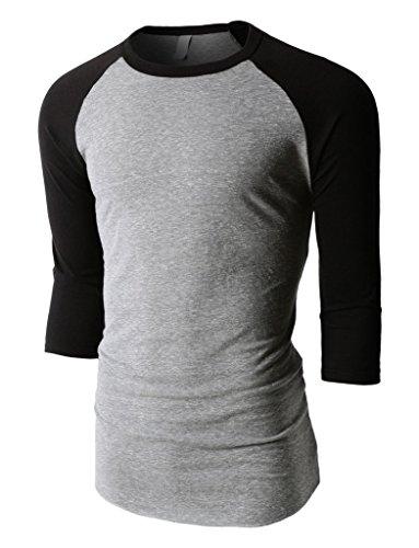 - Mens Raglan T Shirts Tri Blend 3/4 Sleeve Baseball Tee Jersey (Small, Tri Gray/Black)