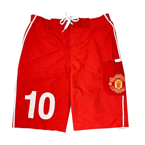 (Manchester United Short for Kids, Official Man Utd Board Shorts,Summer Casual Beach Shorts (Youth X-Large 13-15) Red)