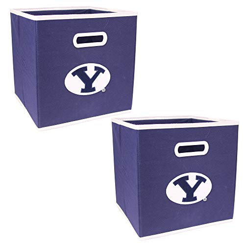 (NCAA Collapsible Box Storage Bin Drawer (2 Pack) (Bingham Young Cougars))