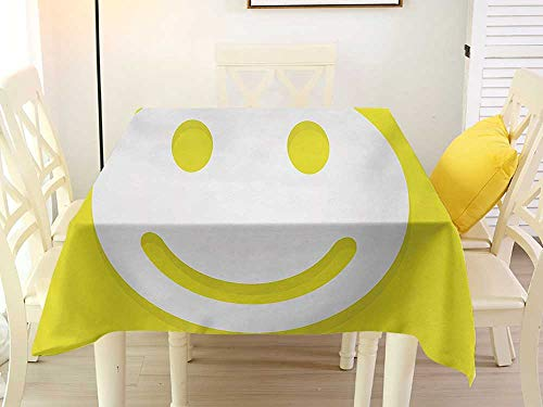 L'sWOW Rectangular Tablecloth Square Vinyl Yellow Rise Wake Uo Positive Optimistic Life Message Big Smiley Happy Face Artwork Yellow and White Western 70 x 70 Inch