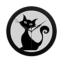IIAKXNB Modern Simple Black Silhouette of A Sitting Cat Pattern Wall Clock Indoor Non-Ticking Silent Quartz Quiet Sweep Movement Wall Clcok for Office,Bathroom,livingroom Decorative 9.65 Inch