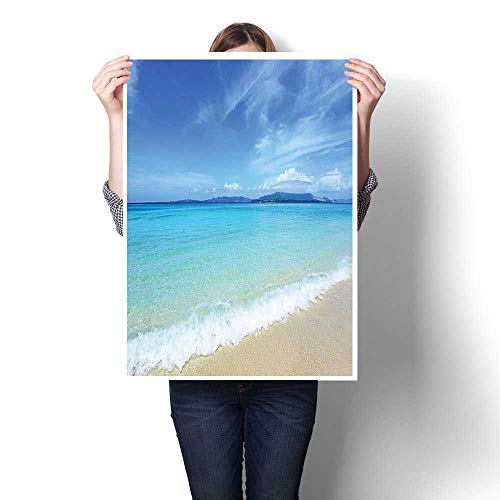 (Hanging Painting,Collection Exotic Beach Scenery with Bright Sky and Clear Sea Water Topical Lands Painting,Ready to Hang for Home Decorations Wall Decor,24