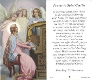 St. Cecilia, Package of 100 Paper Holy Cards, with Prayer on Reverse Side. Size Approximately 2