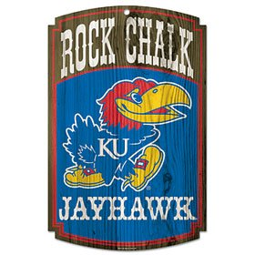 - NCAA Kansas Jayhawks 11-by-17-InchRock Chalk Wood Sign