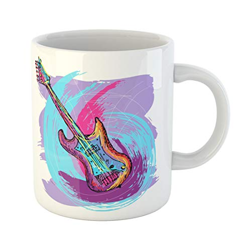 Semtomn Funny Coffee Mug Rock Colorful of Electric Guitar Created As Very Artistic 11 Oz Ceramic Coffee Mugs Tea Cup Best Gift Or Souvenir]()