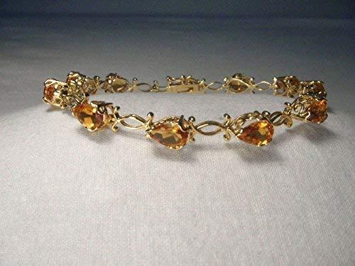 Beautiful Estate 14K Yellow Gold Pear Natural Citrine Filigree Tennis Bracelet