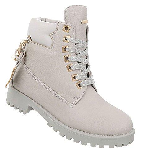 Schuhcity24 Damen Schuhe Stiefeletten Schnürer Boots Hellgrau