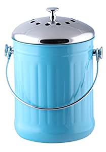 Kitchen Maestro Counter Top Stainless Steel Compost Bin with 2 Odor Absorbing Filter Sets and 50 Compost Bags - Blue