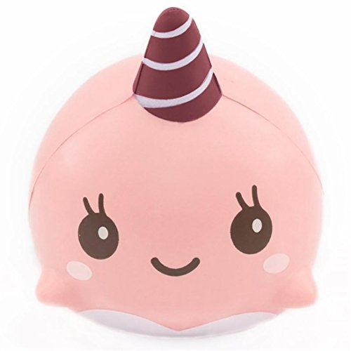 Whale Squishy Slow Rising,PLENTOP Slow rising squishy Soft Whale Cartoon Squishy Slow Rising Squeeze Toy Phone Straps Ballchains Pink