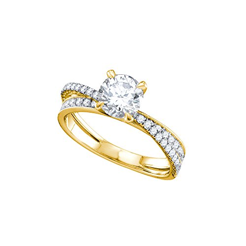 Brilliant 14kt Ring Diamond Gold (14kt Yellow Gold Womens Round Diamond Solitaire Bridal Wedding Engagement Ring 1-1/3 Cttw)