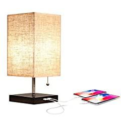 Square base and linen lampshade give you natural comfort. Simple and convenient design, desk and lamp base has a functional 2USB charging port 5V/2A, which can charge your electronic equipment and provide convenience for your daily life.Very ...