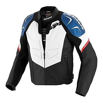 SPIDI TRK EVO Chaqueta para Moto de Cuero, Negro/Azul, 50: Amazon.es: Coche y moto