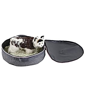 Petsfit 3.9''H15.3''W15.3''L Portable Travel Cat Litter Pan foldable, light weight, drive and easy cleaning