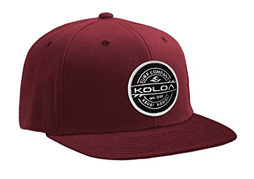 Joe's USA Koloa Surf Thruster Patch Logo Solid Snapback Hat-Maroon