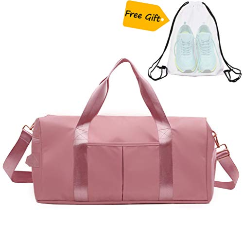 ICEIVY Dry Wet Separated Gym Bag, Sport Gym Duffle Holdall Bag Training Handbag Yoga bag Travel Overnight Weekend Shoulder Tote Bag with Shoes Compartment for Women Pink