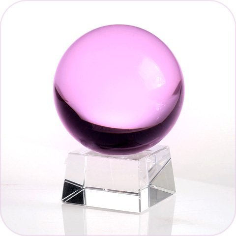 Amlong Crystal Pink Crystal Ball 150mm (6 in.) Including Angled Crystal Stand and Gift Package by Amlong Crystal