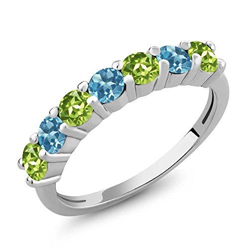 (Gem Stone King 1.32 Ct Round Green Peridot Swiss Blue Topaz 925 Sterling Silver Gemstone Birthstone Anniversary Ring (Size 8))