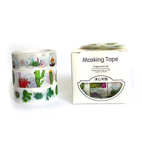 MiiSii 1 Pack / 3 Rolls Cactus Decorative Masking Washi Tapes for Scrapbooking Album Journal Gift Packing (3 rolls x 15mm wide )