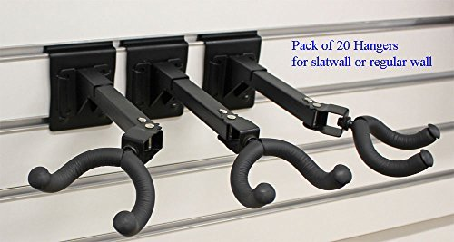 (Top Stage Set of 20 Guitar Hanger Slatwall Black Steel Foam 3