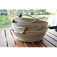 Rope Basket Farmhouse Rustic Decor 9 inches x 7 inches x 3.