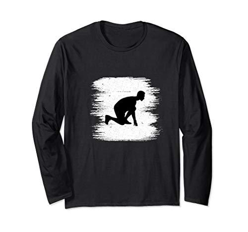 (Vintage Track And Field Runner Sprinter Running Long Sleeve T-Shirt)