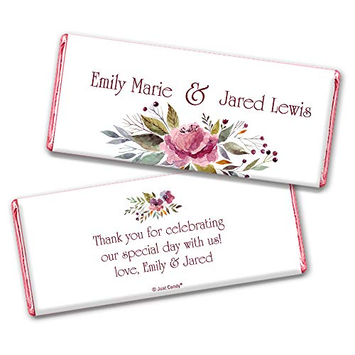 Floral Wedding Favors for Guests Personalized Wrappers for Hershey's Chocolate Bars (25 Pack) - Bridal Shower Favors for Guests