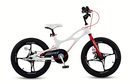 Royal Blue Shuttle - Royalbaby Space Shuttle Lightweight Magnesium Kid's Bike with Disc Brakes for Boys and Girls, 18 inch with Kickstand, White