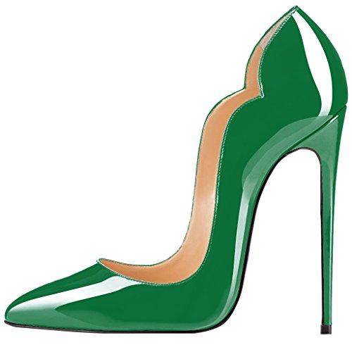 Scarpe Tacchi Alti Punta Qianzulian Pompe Dimensioni Ragazza Aguzza Us Delle Donne 12 Le Calore Green 5 Di CPUBqwxw
