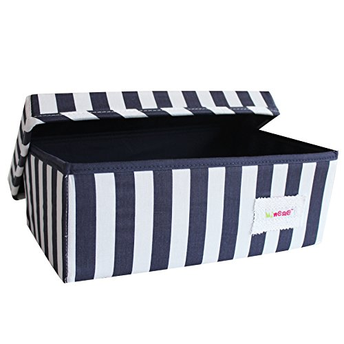 Minene Foldable Linen Fabric Storage Box, 32 x 21 x 12 cm, Small, Thick Navy Stripes 1229