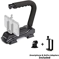 Movo Photo VH900-SP Heavy Duty Super Sturdy Action Stabilizing Video Handle Grip for the GoPro HERO, HERO2, HERO3, HERO4 and Apple iPhone 4, 4S, 5, 5S, 6, 6S, Samsung Galaxy S3, S4, S5, S6 Smartphones