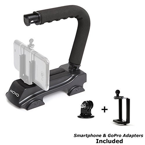 Movo Action Video Stabilizing Handle Grip for GoPro HERO, HERO2, HERO3, HERO4, HERO5 amd Apple iPhone 4, 4S, 5, 5S, 6, 6S, 7, 8, X (Reg/Plus), Samsung Galaxy S3, S4, S5, S6, S7 Smartphones by Movo