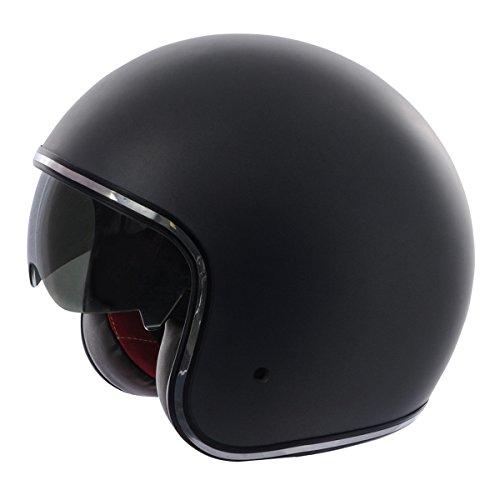 Fulmer, V2B01524, Adult Open Face Motorcycle Helmet V2B Boulevard w/iShade DOT Approved - Flat Black, L