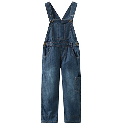 Grandwish Boys Blue Thin Denim Bib Overalls 6 -