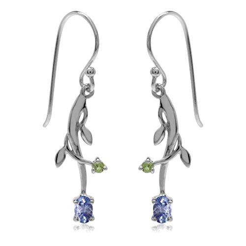 Genuine Tanzanite & Peridot 925 Sterling Silver Vine Leaf Dangle Earrings ()