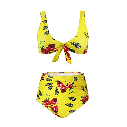 SS Queen Women High Waisted Padded Swimsuits Print Bowknot Swimwear Two Pieces Bathing Suit ()