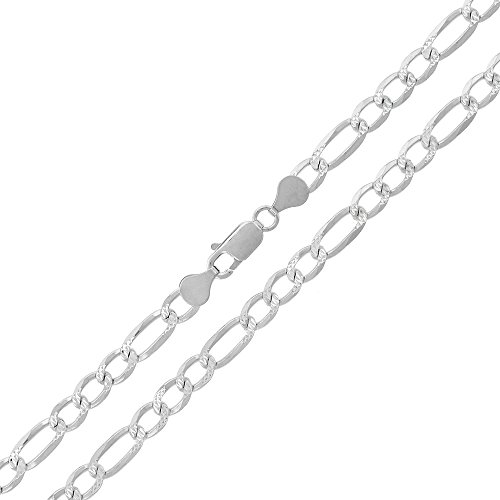 Elite Anti-Tarnish - 5mm Figaro Link - Patented ITProLux - Diamond-Cut Pave - 925 Sterling Silver - Solid Necklace Chain - Made In Italy - 18